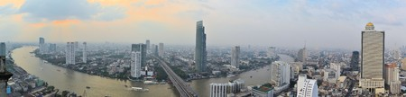 Skyline of the Cityscape in urban Bangkok,capital of Thailand photo