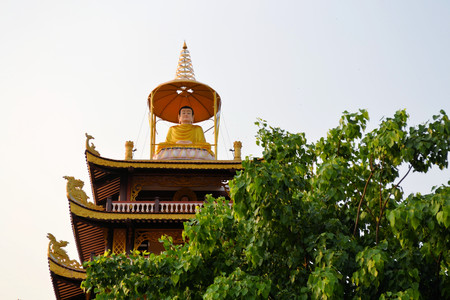 temple tower: Temple on top of a temple tower in Vientane, Laos