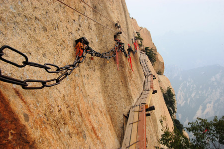 Dangerous walkway via ferrataat top of holy Mount Hua Shan in Shaanxi province near Xian, China