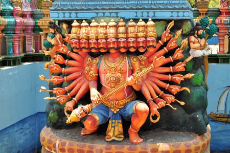 Hindu shrine for 10 headed god Ravana on Nainativu island at Hindu temple Sri Naga Pooshani Amman Kovil, Sri Lanka