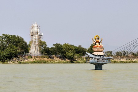 hindu god shiva: Giant statues Hindu goddess Ganga in front of Hindu god Shiva in Haridwar India Stock Photo