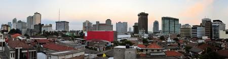 jakarta: Panoramic cityscape of Indonesia capital city Jakarta viewed from tourist district Jalan Jaksa Stock Photo