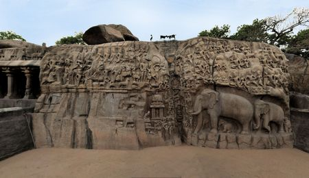 mamallapuram: Ancient basreliefs Descent of the Ganges,in Mamallapuram, Tamil Nadu, India
