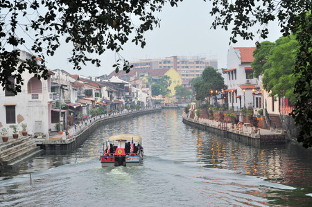 promenade: Malacca City Riverside Promenade, Malaysia.