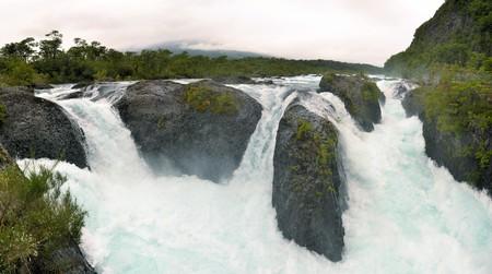 ner: beautiful Petrohue waterfalls ner Llanquihue lake in Los Lagos region of Chile, Patagonia