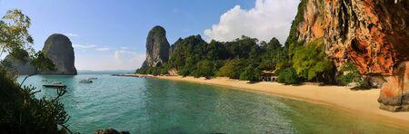 phra nang: Clear water, blue sky at cave beach Phra Nang, Krabi province, Thailand.