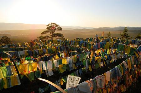 ulan ude: Ivolginsky Datsan Prayer Flags at sunset in Buryatia, Russia, nearby Ulan Ude town.