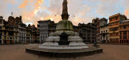 going places: Buddhist Stupa in a random backyard north of Durbar Square, in the old city Kathmandu, Nepal