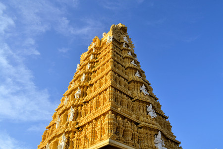 Tall entrance building of Hindu Temple at Chamundi Hills in Mysore, India