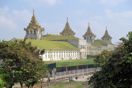 loc: Traditional architecture railway station building in Yangon, Myanmar