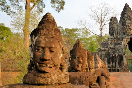 angkor thom: North gate to angkor thom in Cambodia is lined with warriors and demons Stock Photo