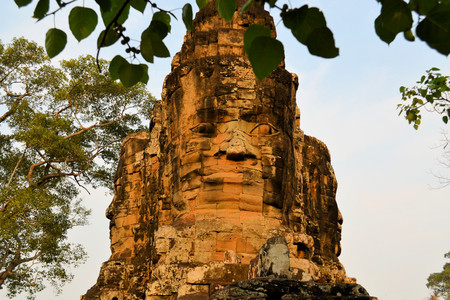 north gate: North Gate to Angkor Thom ancient city, near Siem Reap, Cambodia.