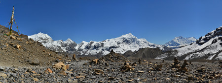 panoramatic: Beautiful landscape in Himalayas, Annapurna mountain range, Nepal