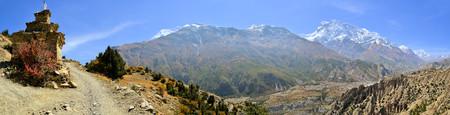panoramatic: Beautiful landscape in Himalayas, Annapurna mountain range, Nepal