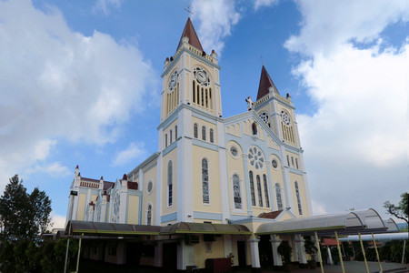 populations: Our Lady of Atonement Cathedral in the summer capital of the Philippines, Baguio City. The Philippines have one of the most catholic populations in the world.