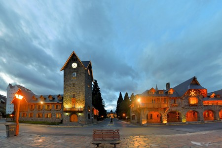 Main Square in San Carlos de Bariloche, a city situated in the foothills of the Andes on the southern shores of Nahuel Huapi Lake, Argentina Фото со стока