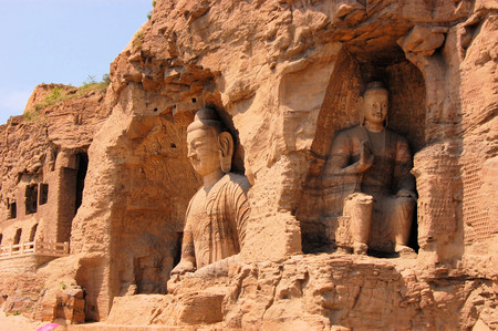 metres: Yungang Grottoes Buddha caves  near Datong, Shanxi Province. It is cave 20. Buddha is 13.7 metres high.