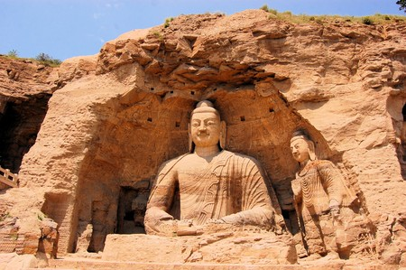 Yungang Grottoes Buddha caves  near Datong, Shanxi Province. It is cave 20. Buddha is 13.7 metres high.