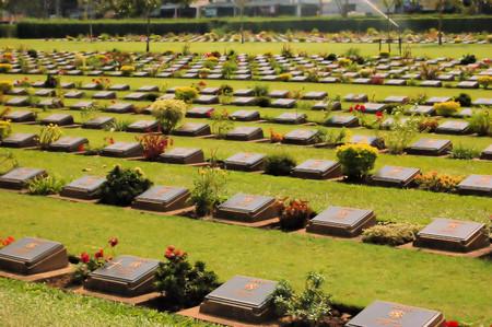 world war 2: Rows of Confederate Veterans tombstones during World War 2 in Kanchanaburi province, Thailand