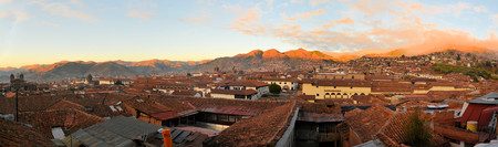 urubamba valley: View of red roofs in a historic area of Cuzco in Peru