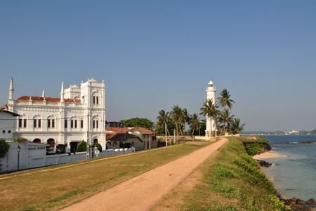 galle: Galle is a major city in Sri Lanka, situated on the southwestern tip of Sri Lanka, 119 km from Colombo. Stock Photo