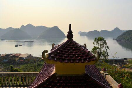 Buddhist temple pagoda at Halong Bay, Vietnam. photo