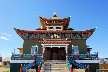 ulan ude: Tibetan style Mahayana Buddhist Temple Datsan in Siberian town of Ivolginsk near Ulan Ude, Russia