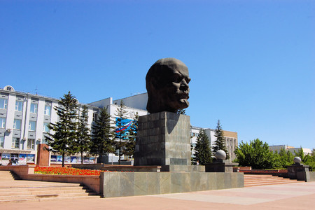 Bust Monument to Vladimir Lenin in Ulan-Ude city, capital city of the Buryat Republic, Russia.