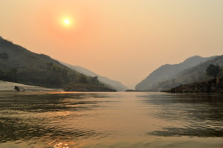 freshwater sailor: Beautiful nature of Mekong river in Laos. Mekong is one of the most important river in Indochina and South East Asia Stock Photo