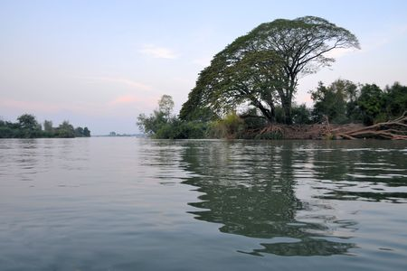 indochina: Tree and beautiful nature of Mekong river in Laos. Mekong is one of the most important river in Indochina and South East Asia