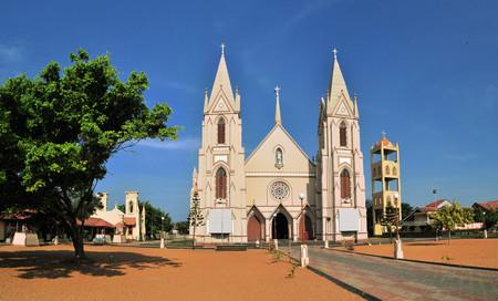 crist: Catholic church with towers near the Indian ocean in Negombo, Sri Lanka