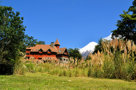 Typical architecture of a house in Puerto Varas, llanquihue Lake, Patagonia, Chile photo