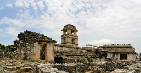 mesoamerica: The palace with its tower in ruins at ancient Mayan city of Palenque in Mexico Stock Photo