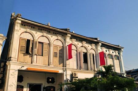 中国とポルトガルの植民地建築ジョージタウン、ペナン、マレーシアの家