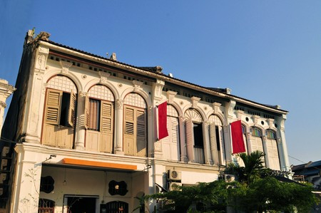 Sino-Portuguese colonial architecture House in Georgetown, Penang, Malaysia photo