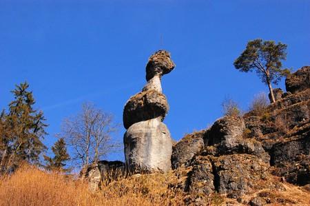 schweiz: Rock tower monolith near Pottenstein, Frankonian Switzerland - Fraenkische Schweiz - Germany Stock Photo