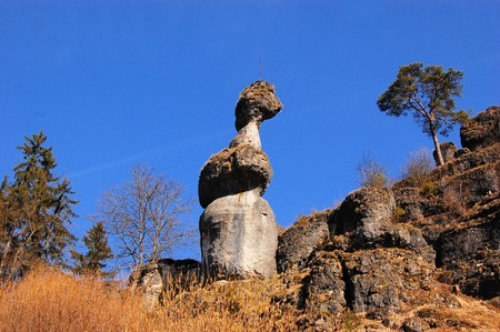Rock tower monolith near Pottenstein, Frankonian Switzerland - Fraenkische Schweiz - Germany Stock Photo