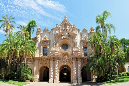 balboa: Spanish architecture building with palm trees in Balboa park, San Diego California