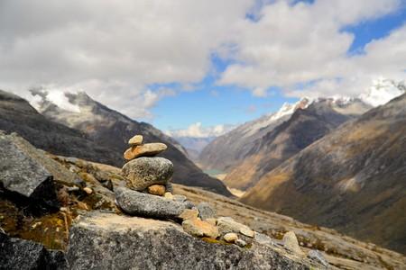 switchback: Cordillera Blanca mountain range - Punta Union Pass - Santa Cruz Circuit Trek near Huaraz, Peru