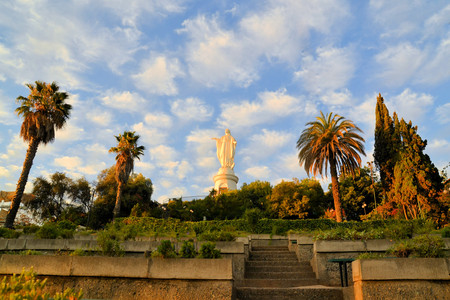 Statue of the Virgin Mary on the top of Cerro San Cristobal, Santiago, Chile Stock Photo