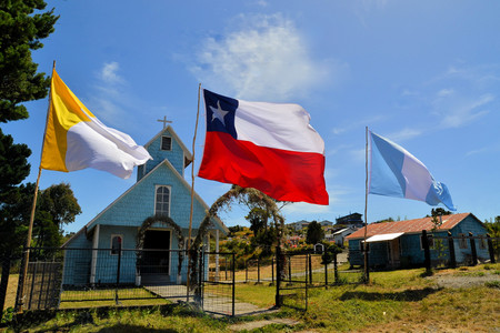 17th century: Historic wooden churches were built in the 17th century by Jesuit missionaries on the island of Chiloe in Chile. Stock Photo