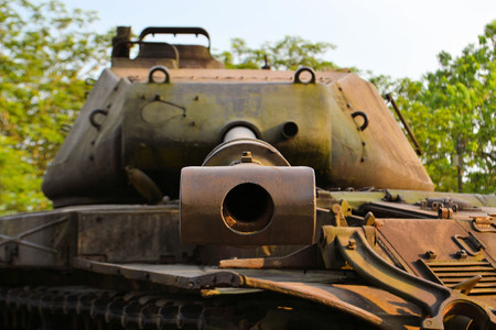 US Army Tank used during the Vietnam War at a free open air exhibiton in Hue Vietnam