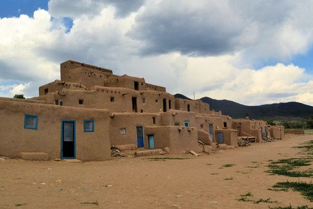 adobe pueblo: Taos Pueblo ancient Indian indegineous adobe city in New Mexico