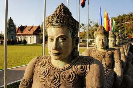 Cambodian Independence Monument in Siem Reap. Siem Reap and the temples of Angkor were conquered by Thailand and on liberation this monument was built as a memorial Stock Photo