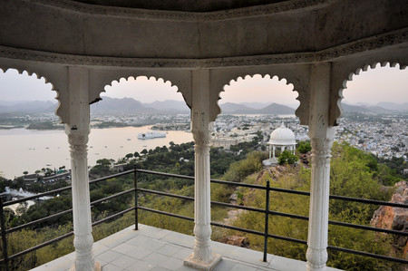 A view of a pavillon in front of Udaipur city palace at the shores of Pichola lake in Udaipur, Rajasthan, India