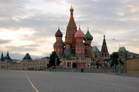 St. Basils Cathedral on Red Square is the most famous tourist landmark in Moscow, Russia photo