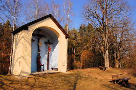 congregational: Oversized catholic christian country chapel in a forest, Germany