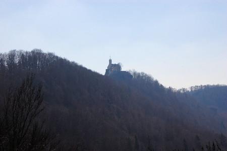 burg: Rabenstein - old castle in the mountainous Franconian Switzerland region of Upper Franconia, Bavaria, Germany. Stock Photo