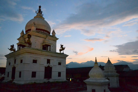 dome of hindu temple: Kalmochan Mahadev Hindu temple in Kathmandu with a dome architecture like a mosque. Nepal was once the only nation with Hinduism as its national religion.