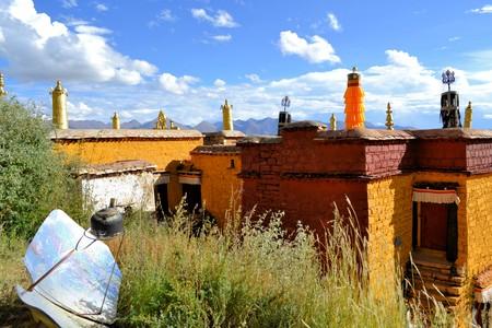 Sera Utse Hermitage above Choding Khang Hermitage in Sera Monastery, Lhasa, Tibet.  Sera Use Hermitage on Sera Tse hill is, where Je Tsongkhapa meditated and precedes Sera monastery. The hermitage is also called Drubkjang Tse photo